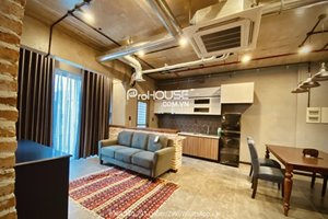 Big balcony 2 bedroom industrial style apartment for rent in Hung Phuc Happy Residence