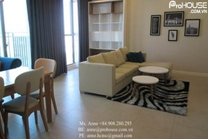 Nice view of 2 bedroom apartment for rent in District 7, large balcony, modern and bright furniture