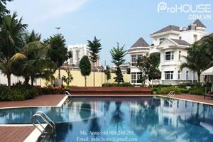 VILLA IN COMPOUND: 4 bedroom villa available for rent in Chateau, Phu My Hung, fully furnished, swimming pool, gym