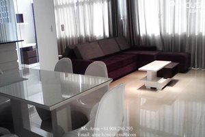 Modern apartment for rent in Phu My Hung, 118 sqm, 3 bedrooms, open-kitchen, nice and new furniture